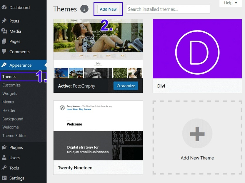 how to install a new wordpress theme
