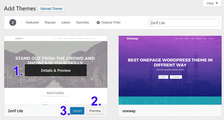 preview or install wordpress theme